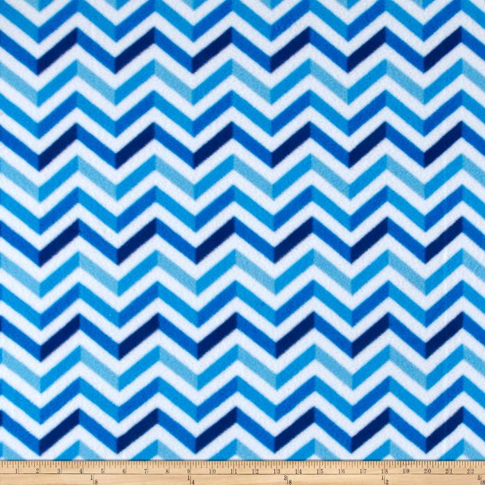 Simply Chevron Fleece Cool White/Blue