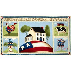 Little Bit of Country Large Patriotic Squares Panel Tan/Multi