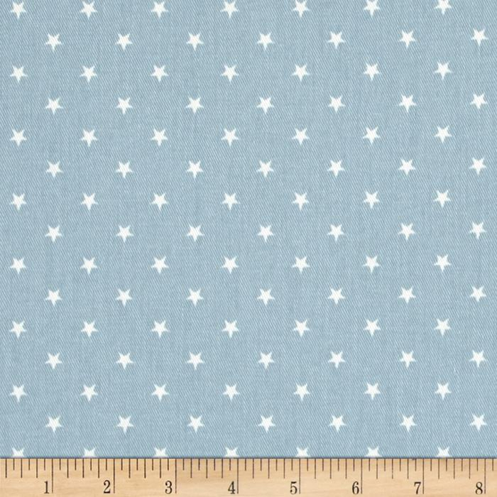 Premier Prints Mini Stars Twill Weathered Blue/White
