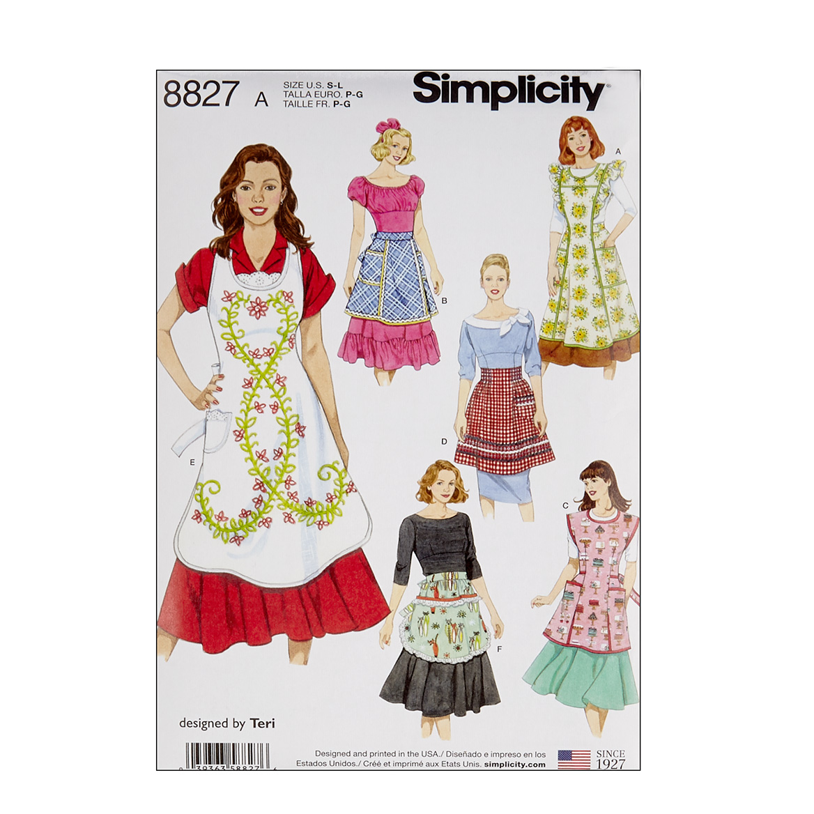 Vintage Aprons, Retro Aprons, Old Fashioned Aprons & Patterns Simplicity 8827 Misses Aprons A Sizes S-M-L $11.97 AT vintagedancer.com