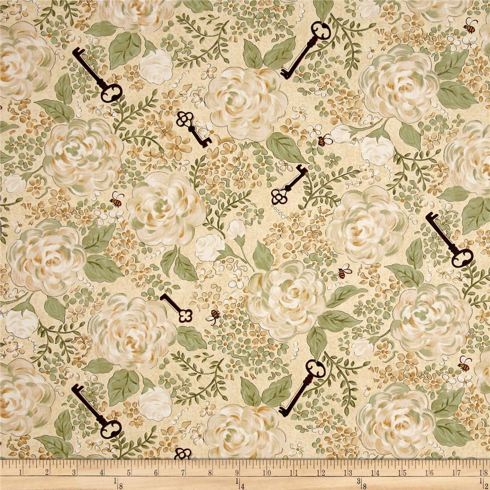 My Secret Garden Floral Key Yellow/Cream
