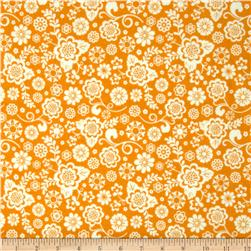 Riley Blake Fancy Free Flannel Floral Orange