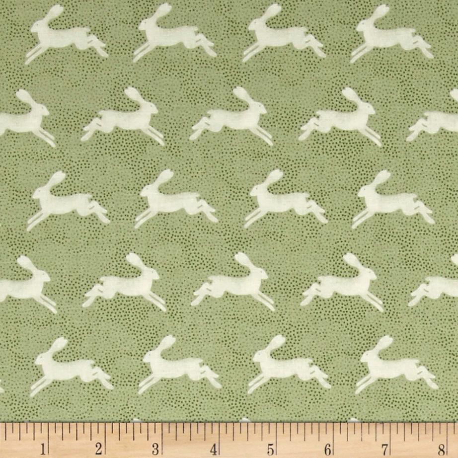 Into The Woods Hare Green Fabric