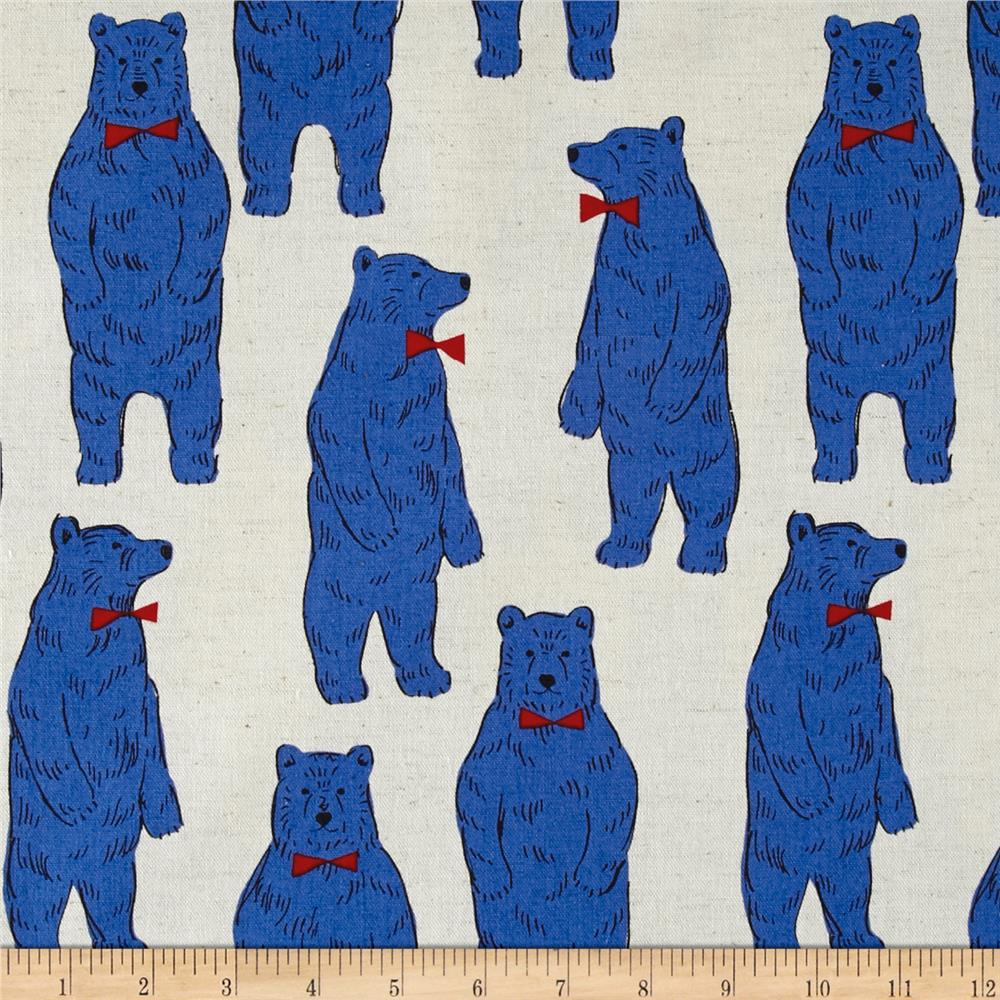Kokka Trefle Linen Blend Canvas Bow Tie Bears Blue