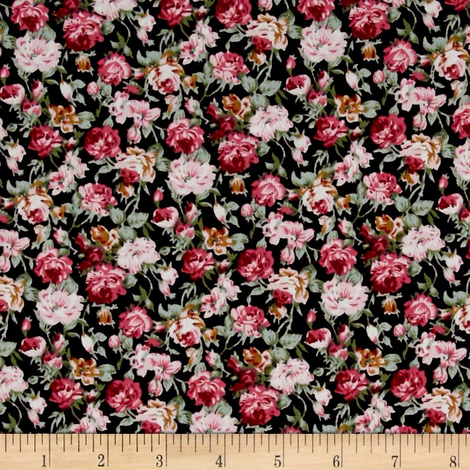 Telio Hampton Court Cotton Shirting Floral Print Black/Fuschia