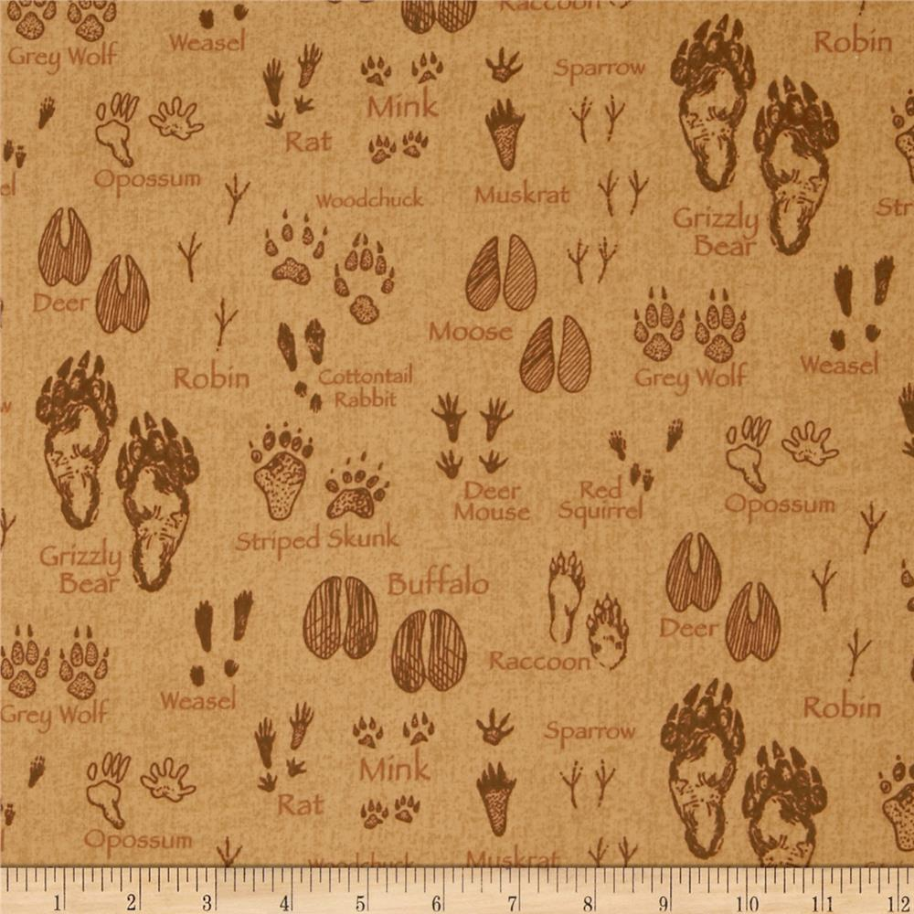 Timber Lodge Flannel Animal Tracks Ochre Brown