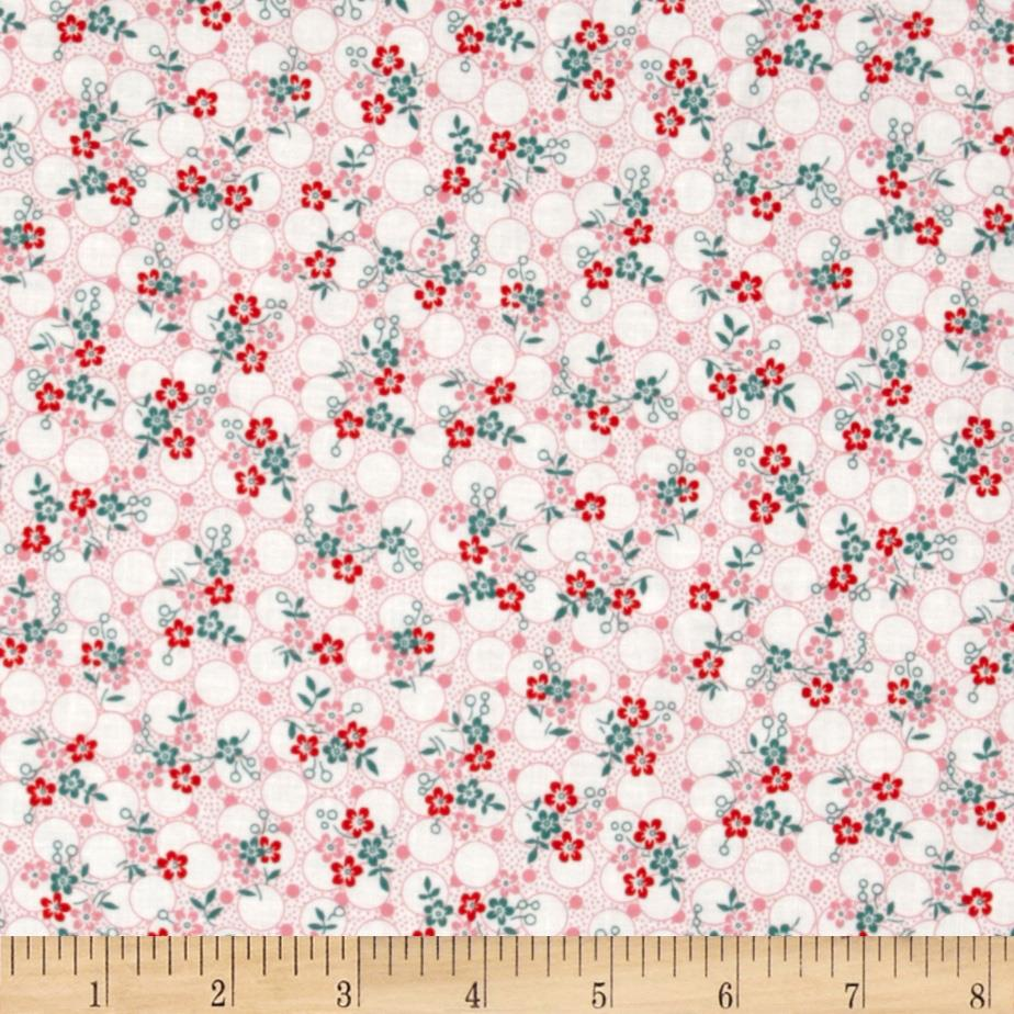 Lazy Daisy Baskets Stitched Flower Vines Red