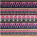 Techno Scuba Knit Aztec Magenta/Royal