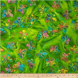 Embroidered Indian Batiks Butterfly Lime