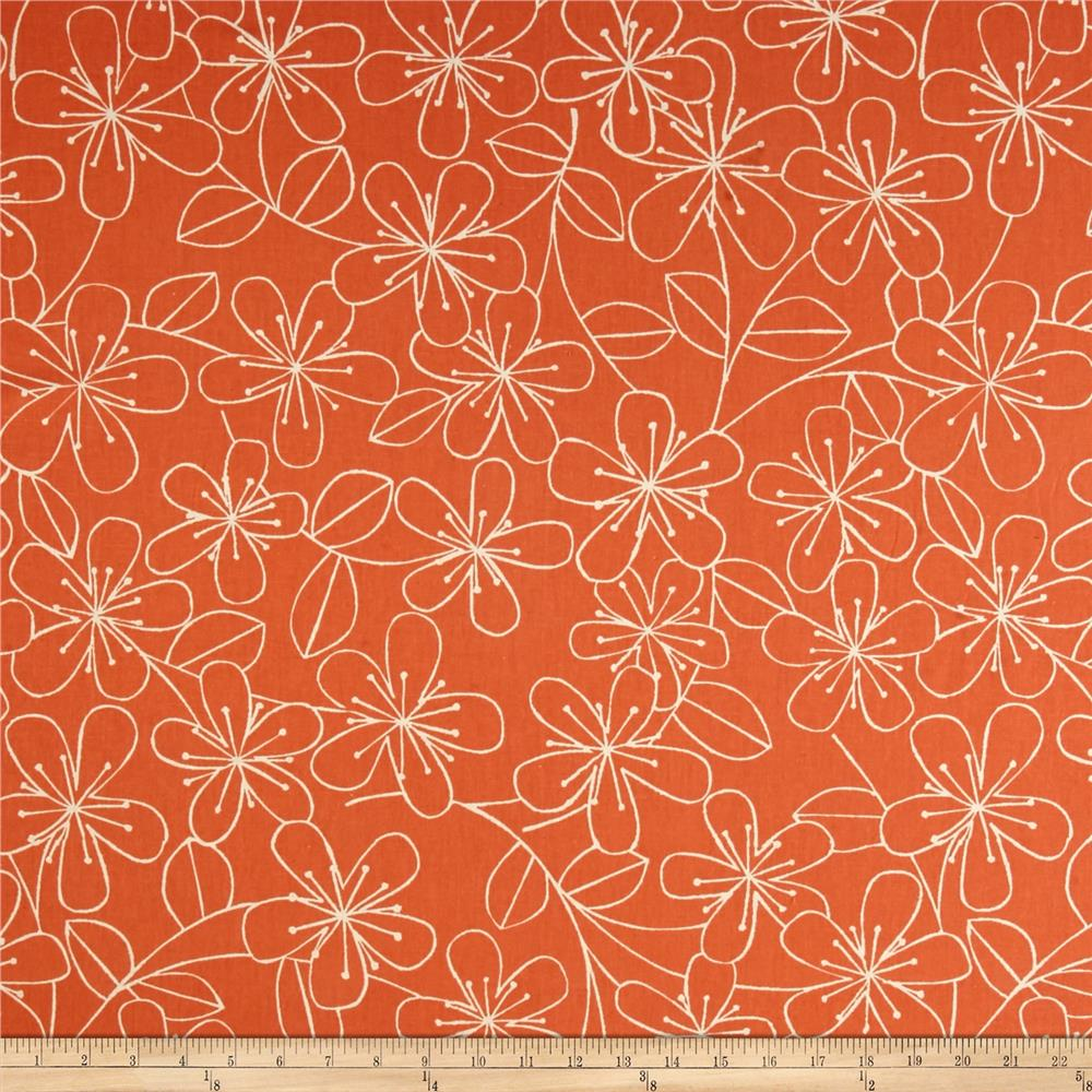 Kaufman Sevenberry Canvas Cotton Flax Prints Etched Flowers Melon Fabric By The Yard