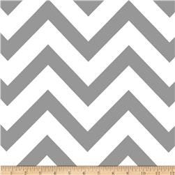 Mi Amor Duchess Satin Chevron Medium Grey/White Fabric