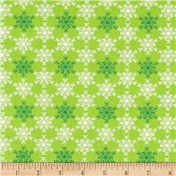 Benartex Christmas Shadow Snowflake Lime