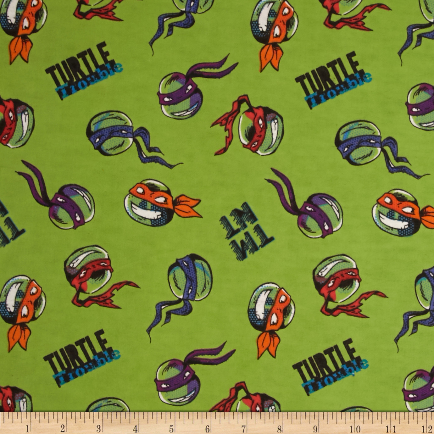 Nickelodeon Tmnt Flannel Turtle Trouble Green Fabric