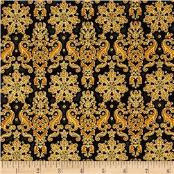 Kaufman Winter's Grandeur 4 Metallics Damask Black