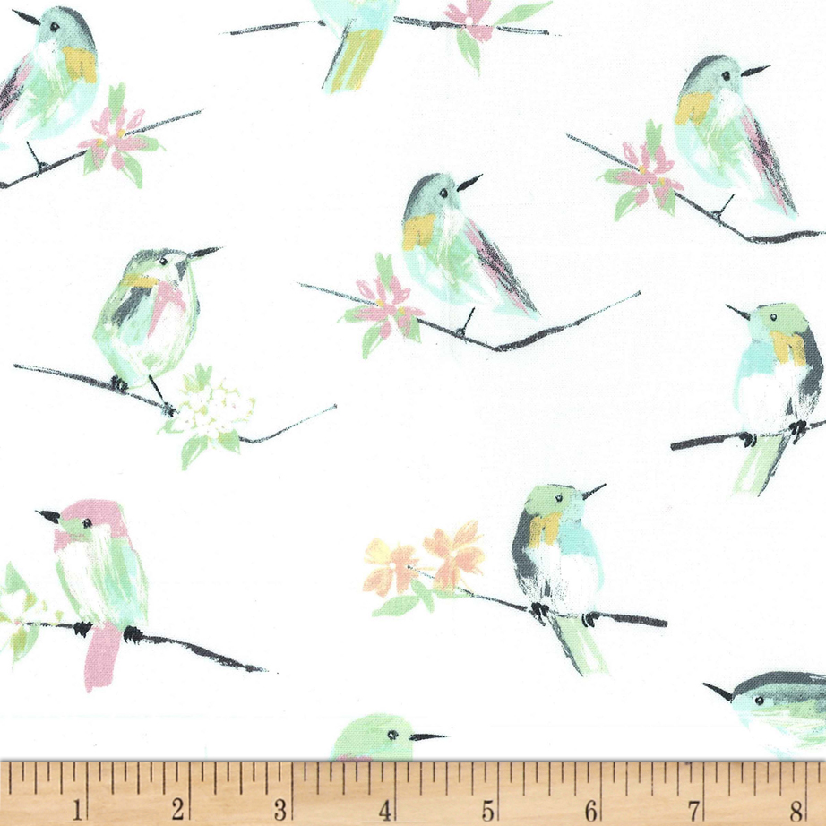 Image of Michael Miller Butterfly Row Bird Watch White Fabric