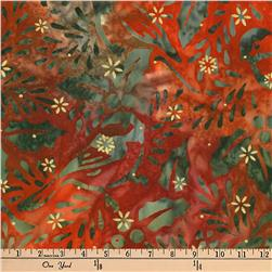 Kaufman Batiks Metallic Northwood Birds Cranberry