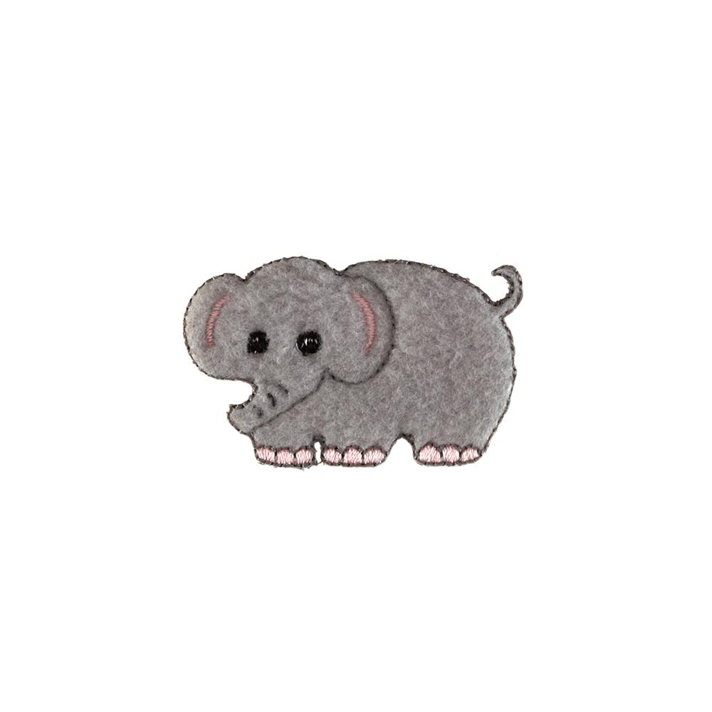 Elephant Fleece Applique Grey