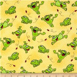 Comfy Flannel Happy Jumping Frogs Yellow