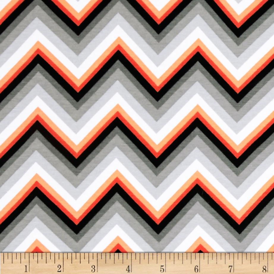 Laguna Stretch Cotton Jersey Chevron Tangerine