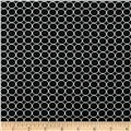 Double Brushed Poly Jersey Knit Small Circles Black