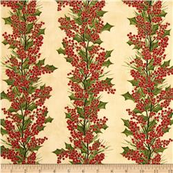 Winter Berries Metallic Holly Stripe Vanilla/Gold Fabric