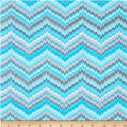 Comfy Flannel Chevron Blue/Grey Fabric