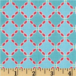 Riley Blake Flower Patch Flower Lattice Blue Fabric