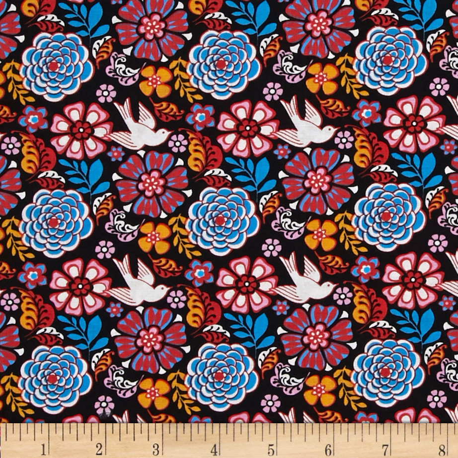 Mexican Folklore Floral Black Fabric by David in USA