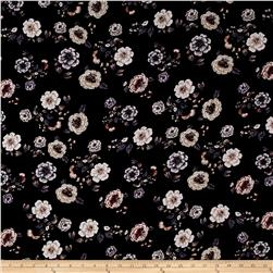 Rayon Crepe Large Flowers Black/Lilac/Ivory