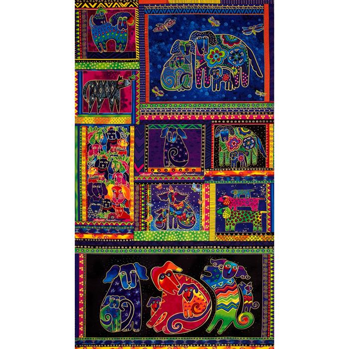 Laurel Burch Dogs & Doggies Panel Multi