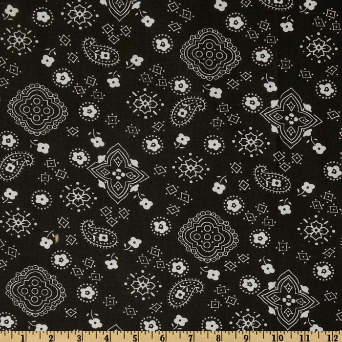 Bandana Prints Black Fabric