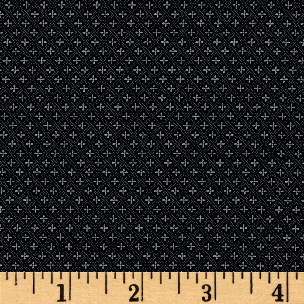 Kaufman Sevenberry Petite Foulard Crosses Black