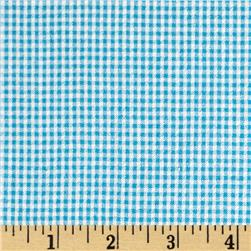 Cotton Seersucker Check Turquoise/White