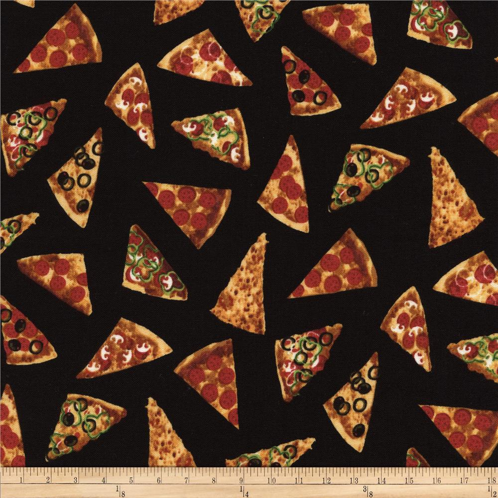 Timeless Treasures Got The Munchies? Mini Pizza Slices Black