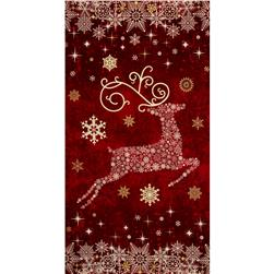 Reindeer Prance Metallic 24 In. Reindeer Panel Cranberry