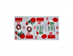 Holiday Traditions Stocking24 In. Panel Red & Gray