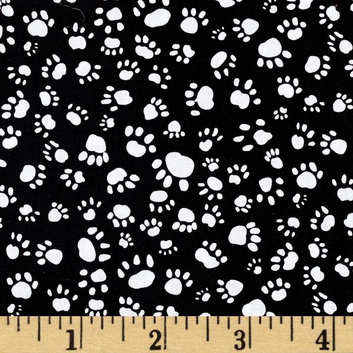 Timeless Treasures Dogs Paw Print Black