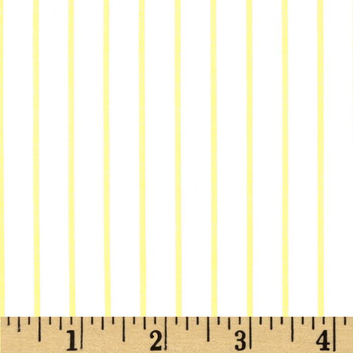 Stretch Poplin Stripes White/Yellow
