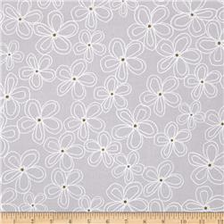 Michael Miller Wee Sparkle Metallic Lacey Daisy Cloud