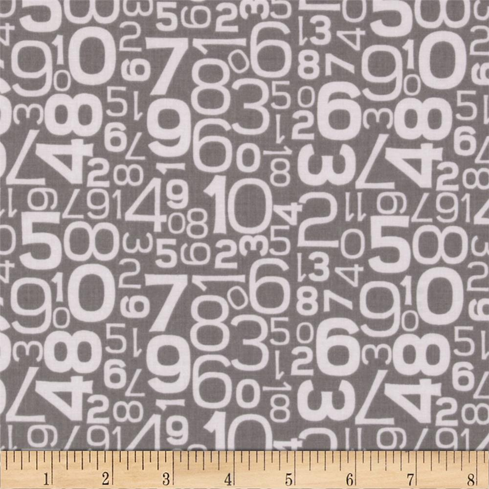Riley Blake Gracie Girl Numbers Grey