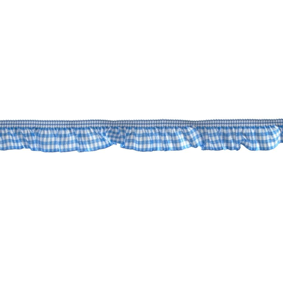 "3/4"" Stretch Gathered Gingham Trim Bright Blue"