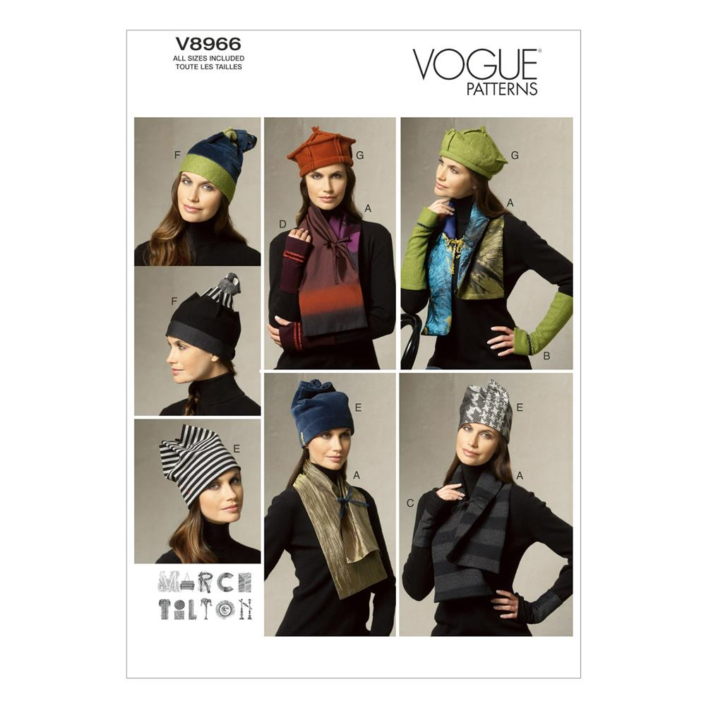 Vogue Scarves, Fingerless Gloves and Hat Pattern V8966 Size OSZ