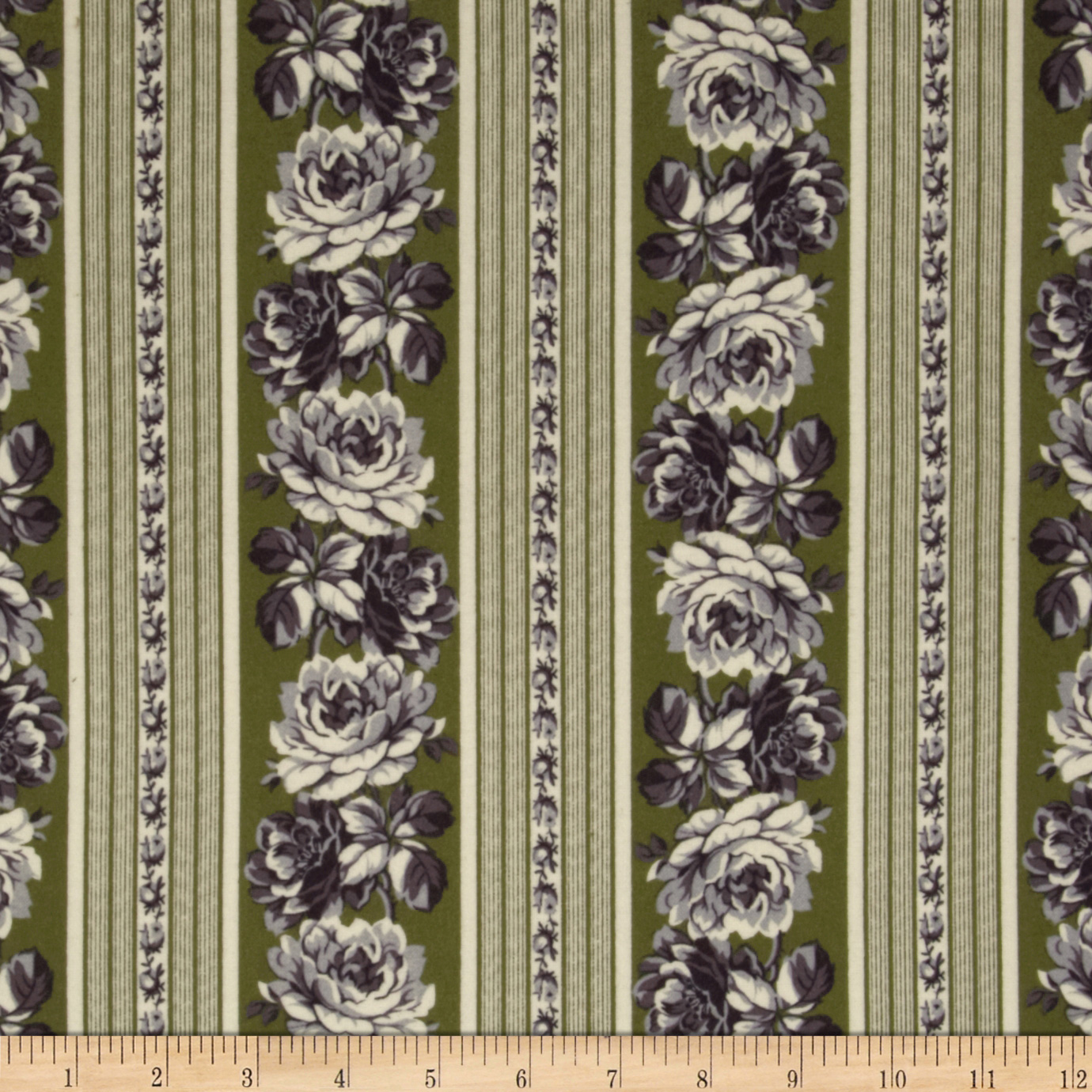 Flannel Rose Floral Stripes Green/White