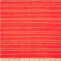 Cotton + Steel Noel Metallic Gold Stripe Red