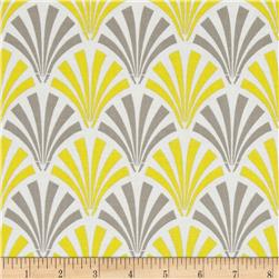 Design Studio Deco Fans Yellow/Gray Fabric