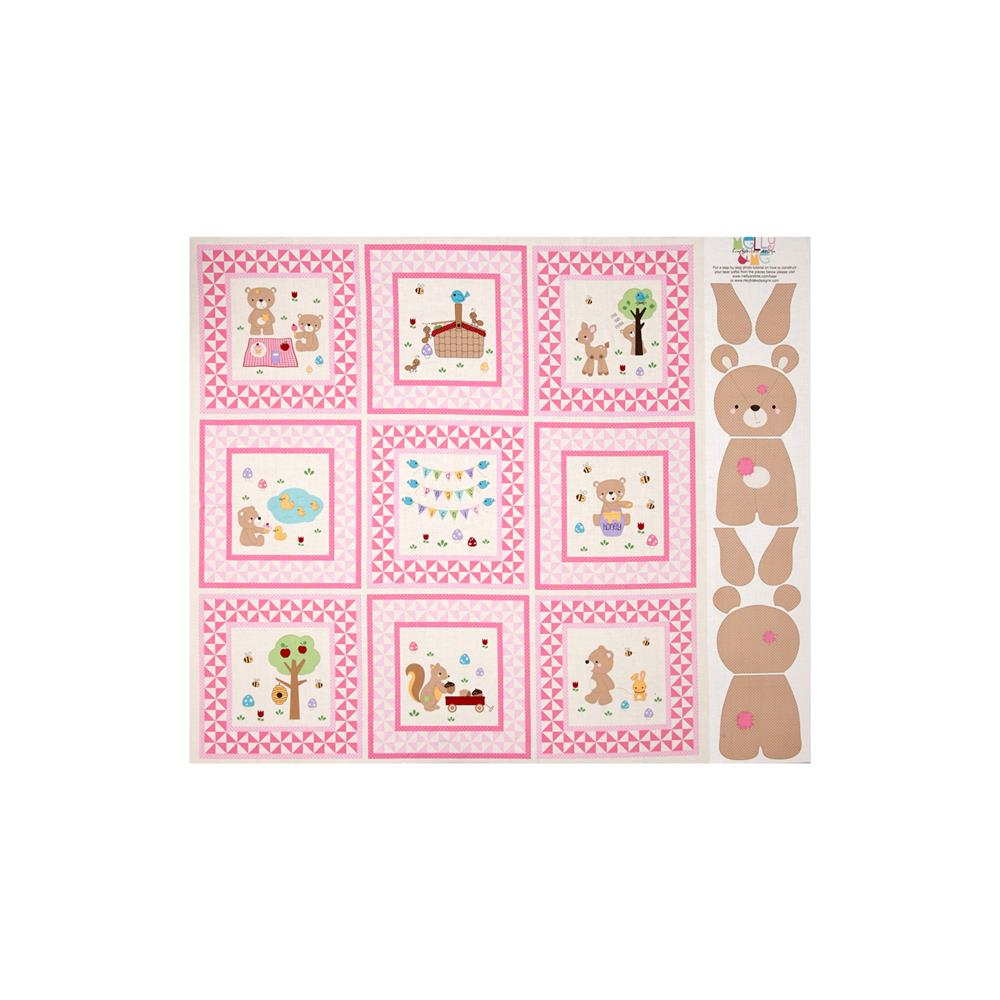 Riley Blake Teddy Bear's Picnic Teddy 36 In. Panel Pink Fabric By The Yard