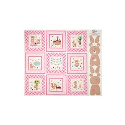 Riley Blake Teddy Bear's Picnic Teddy Panel Pink