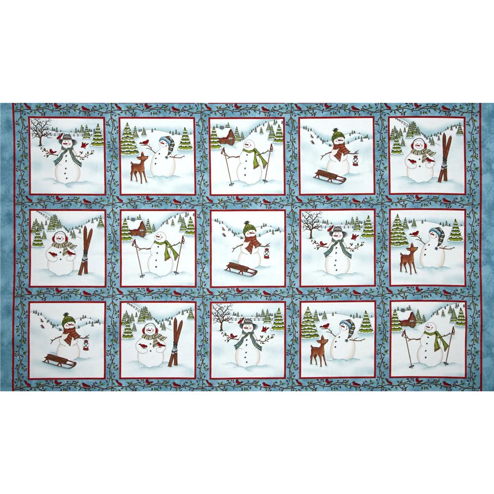Frolic in the Snow Flannel Snowman Squares Blue