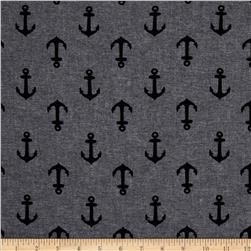 Kaufman Nautique Chambray Anchors Black