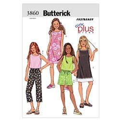 Butterick Girls'/Girls' Plus Top, Dress, Shorts & Pants Pattern B3860 Size 070